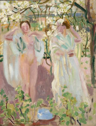 Maurice DENIS - Painting - Deux femmes sous un arbre en fleur