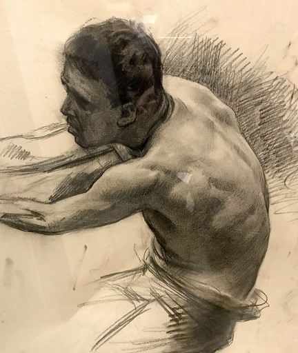 Ulpiano CHECA Y SANZ - Zeichnung Aquarell - busto masculino  | buste d'homme