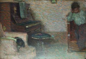 Venanzio ZOLLA - 绘画 - Interno con pianoforte