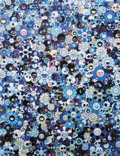 Takashi MURAKAMI - Print-Multiple - Blue Flowers & Skull