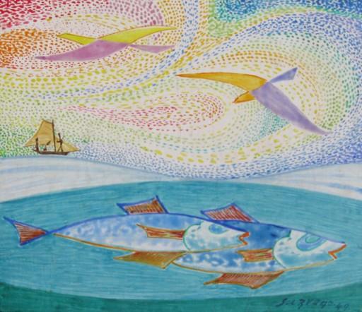 Léopold SURVAGE - Peinture - Composition a l'oiseaux et d'poissons