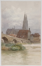 """Anna LYNKER - Dibujo Acuarela - """"The Cathedral of Regensburg"""", Watercolor"""