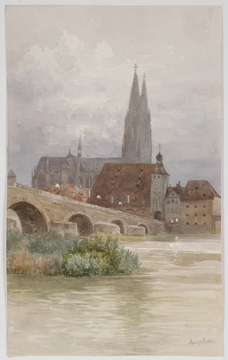 """Anna LYNKER - Drawing-Watercolor - """"The Cathedral of Regensburg"""", Watercolor"""