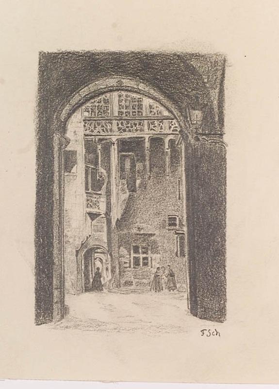 "Ferdinand SCHMUTZER - Zeichnung Aquarell - ""Medieval Yard"", Drawing, early 20th Century"