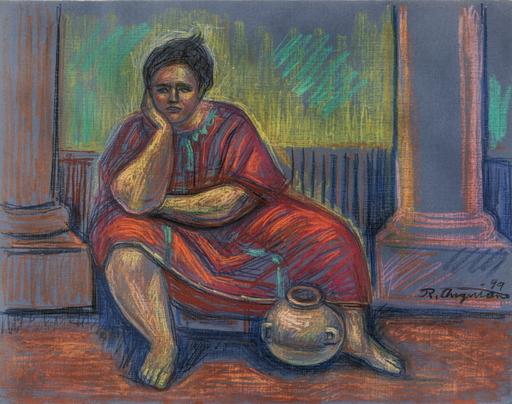 Raúl ANGUIANO VALADEZ - Drawing-Watercolor - Alfarera en rojo y azul