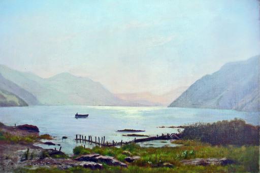 Paul Gustave I ROBINET - Painting - BARQUE SUR LE LAC DES QUATRE CANTONS