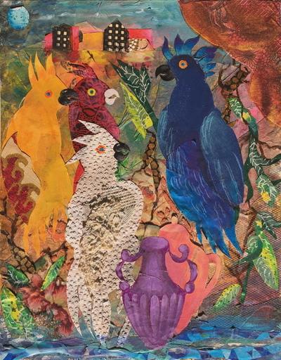 OSANNE - Pintura - Les perroquets dans la ville