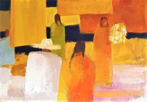 Bernard CATHELIN - Peinture - Marché Ensoleillé