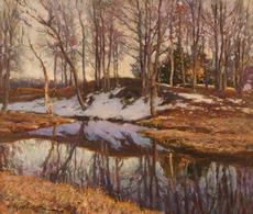 Konstantin Alexandrovitch WESCHTSCHILOFF - Painting - Winter brook