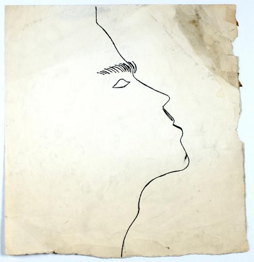 Andy WARHOL - Dibujo Acuarela - Untitled Male Profile, 1950s