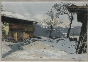 Hans FIGURA - Druckgrafik-Multiple -  Bauernhöfe bei Cortina d'Ampezzo