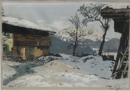 Hans FIGURA - Print-Multiple -  Bauernhöfe bei Cortina d'Ampezzo