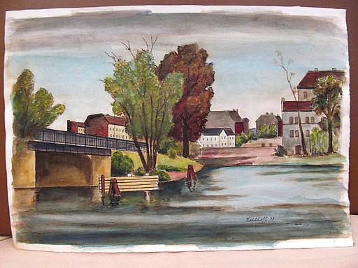 Walter KOHLHOFF - Disegno Acquarello - Kanal oder Fluß in Berlin