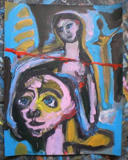 Bernard MOREL - Gemälde - LA LIGNE ROUGE