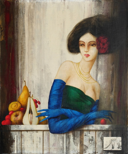 Philippe AUGÉ - 绘画 - Femmes aux longs gants de soie bleue