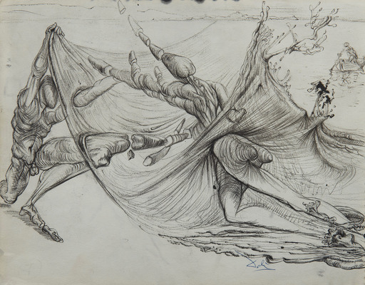 Salvador DALI - Drawing-Watercolor - Combat de guerriers microphysiques