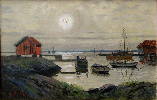 """Nathanael JOHANSON - Peinture - """"PETIT PORT SCANDINAVE AU CLAIR DE LUNE"""""""