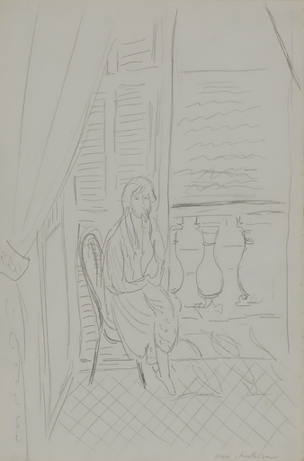 Henri MATISSE - Drawing-Watercolor - Étude pour Intérieur, Nice