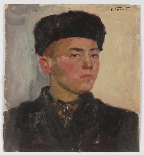"Stepan Fillippovic GOLUB - Pintura - ""Village Boy"", 1950s, Oil"