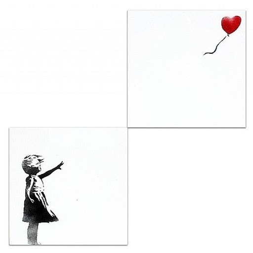 BANKSY - Pittura - Girl With Balloon Diptych