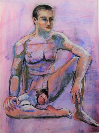 R.CAVALIÉ - Drawing-Watercolor - Mâle mauve