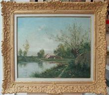 Vincent MANAGO - Painting - Paysage au bord de l'eau