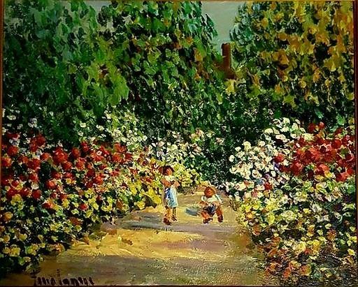 Georges FERRO LA GRÉE - Painting - enfants au jardin