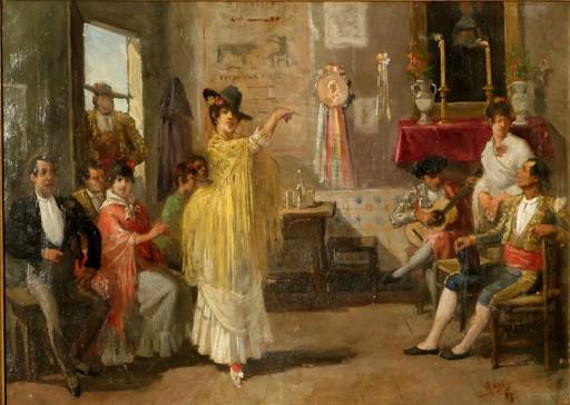 """Antonio COLL Y PI - Pintura - """"FLAMENCO APRES LA CORRIDA"""" 1887"""
