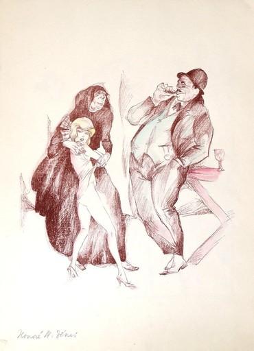 Erich GODAL - Drawing-Watercolor - Les Maitresses III