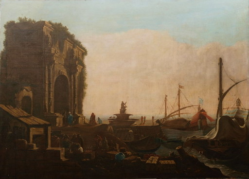 Johannes LINGELBACH - Pintura - Kauffahrtei-Szene,Capriccio. Vedute