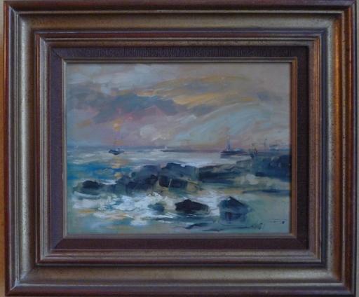 Albert PROUX - Painting - anglet embouchure de l adour