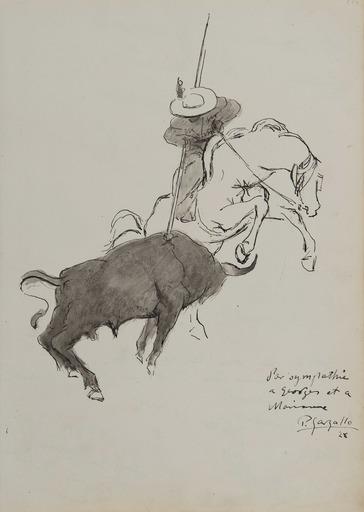 Pablo GARGALLO - Dessin-Aquarelle - Scène de tauromachie