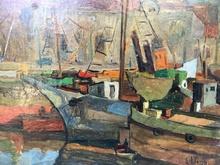 Elie Anatole PAVIL - Painting - Escena de puerto