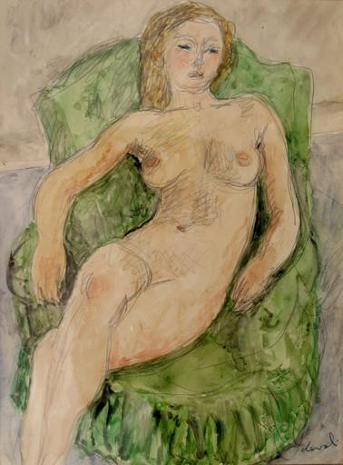 """Pierre DEVAL - Drawing-Watercolor - """"NU AU FAUTEUIL VERT"""""""