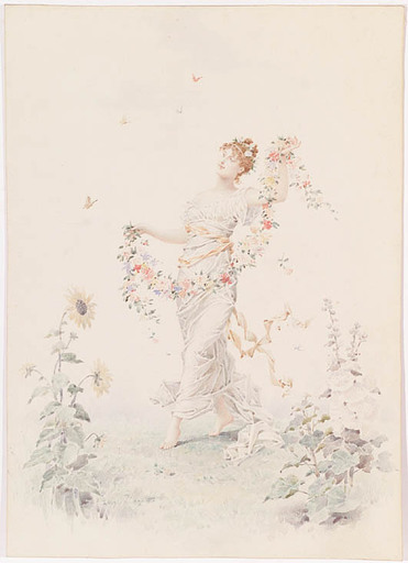 "Lionel PERAUX - Zeichnung Aquarell - ""Flower Fairy"" by Lionel Peraux, ca 1900"