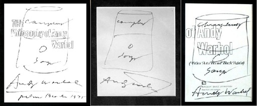 Andy WARHOL - Disegno Acquarello - Campbell soup ink drawings in Tryptic