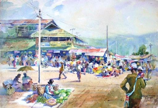 MYA THAUNG - Pintura - Kalaw market