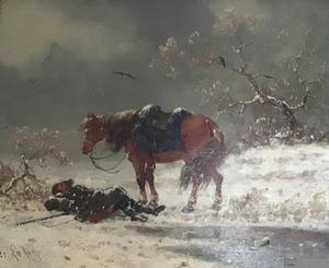 Charles Ferdinand DE LA ROCHE - Peinture - wounded soldier