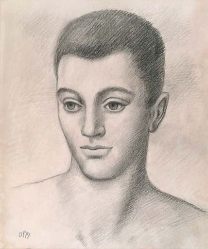 Ubaldo OPPI - Drawing-Watercolor -  PORTRAIT OF A YOUNG MAN