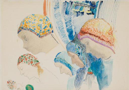 Odilon REDON - Dessin-Aquarelle - Profils de Hollandaises