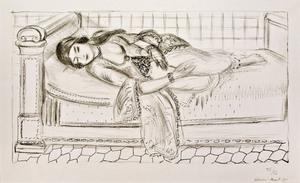 Henri MATISSE, Orientale sur lit repos, sol de carreaux rouges.