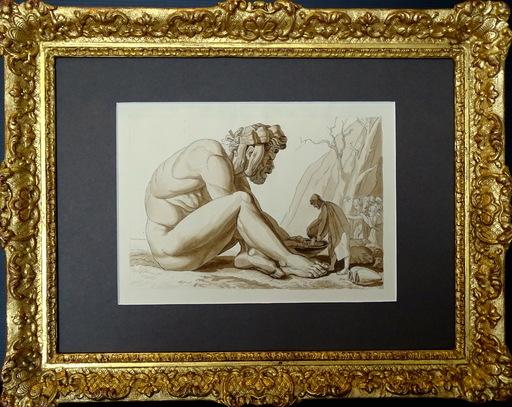 John FLAXMAN - Dessin-Aquarelle - Ulysse donnant du Vin à Polyphème