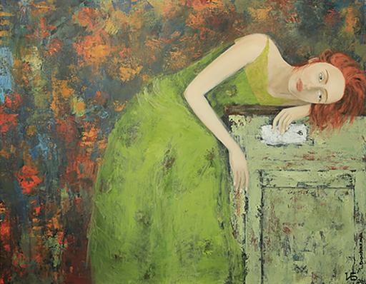 "Irina BOCHAROVA - Gemälde - Woman in green dress ""Waiting"""