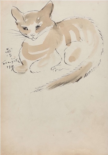 Tsuguharu FOUJITA - Dibujo Acuarela - Chat