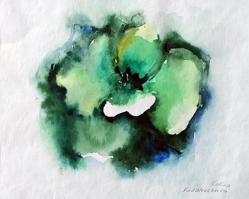 """Galina VINDALOVSKAIA - Drawing-Watercolor - """"Green Rose"""" flower original watercolor painting"""