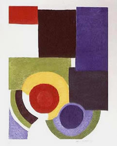 Sonia DELAUNAY-TERK, Composition with Blue & Red Circles