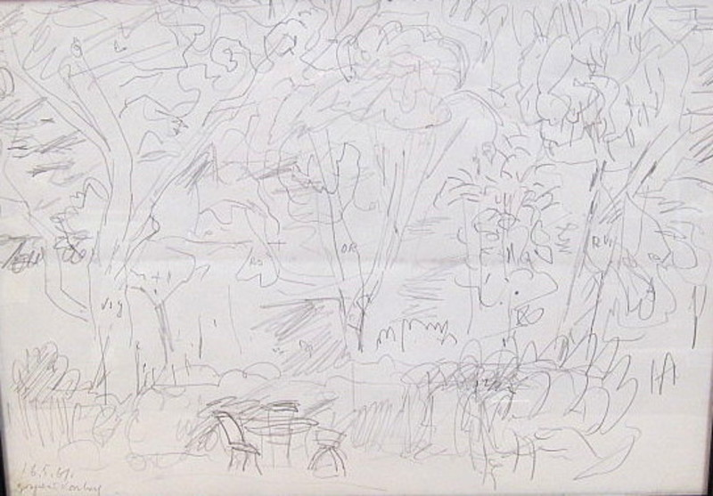 Karl KLUTH - Dibujo Acuarela - Unter Bäumen - abstrakte Skizze