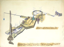 Dennis OPPENHEIM - Dibujo Acuarela - Project for PCVA,