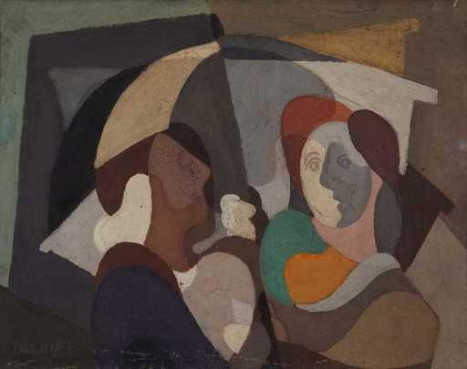 Mario DELUIGI - Pittura - Coppia sotto l'ombrello