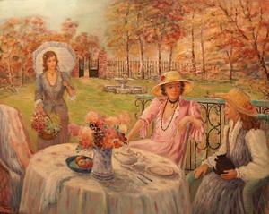 Monique BAUDAUX - Painting - Lady with umbrella